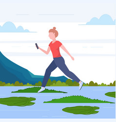 Brave woman using smartphone jumping over lotus vector