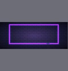 Brick wall lit neon lamp violet color neon vector