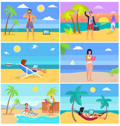 business people on summer vacation posters set vector image