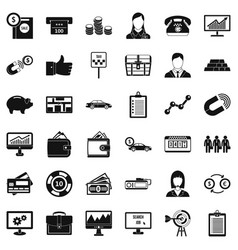 business team icons set simple style vector image