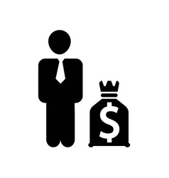 businessman with dollars money bag icon icon vector image