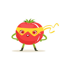 Cartoon character of superhero tomato with arms vector