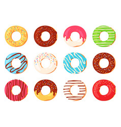 cartoon donuts chocolate doughnut with icing and vector image