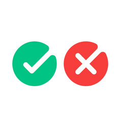 check mark icons green tick and red cross vector image