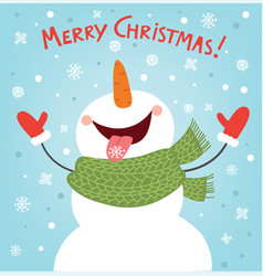 Christmas card with a snowman vector
