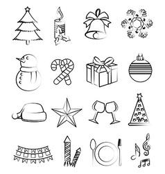 Christmas line icons set vector image