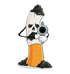Cigarette with gun smoking kills concept vector