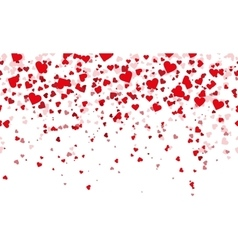 Confetti red hearts fall background vector
