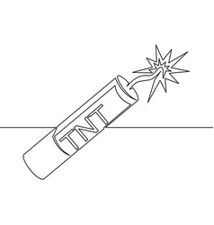continuous one line drawn dynamite line icon tnt vector image