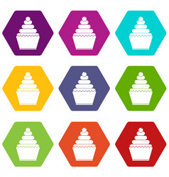 cupcake icon set color hexahedron vector image