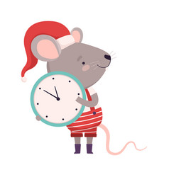 Cute mouse holding wall clock cute small rodent vector