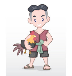 Cute style cartoon thai man holding fighting cock vector