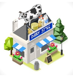 Dairy Products Shop City Building 3D Isometric vector