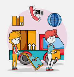 delivery and courier cartoons vector image