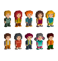 different pixel 8-bit isometric characters vector image