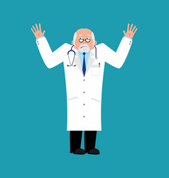 doctor bewildered physician at a loss emoji vector image