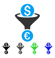 Dollar euro conversion funnel flat icon vector