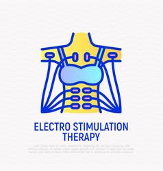 Electro stimulation therapy thin line icon vector