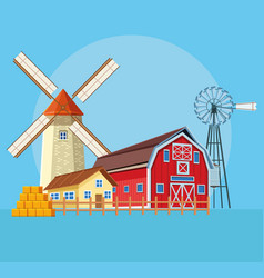 Farm barn cartoon vector