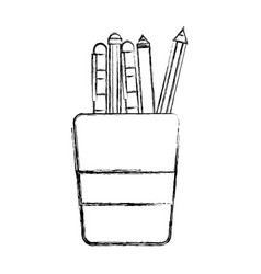 figure school utensils inside cup tool design vector image