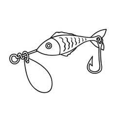 Fishing bait icon in outline style isolated on vector image