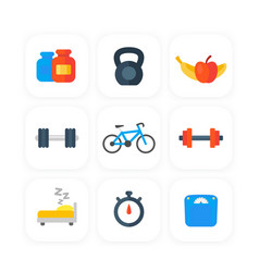 fitness gym icons set in flat style vector image
