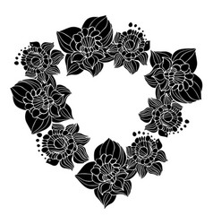 flowers narcissus in black and white style vector image