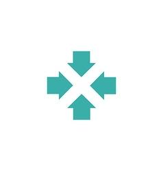 Four arrows logo form letters X graphic concept vector image
