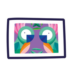 frame picture parrots tropical isolated icon vector image