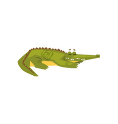Friendly crocodile sleeping funny predator vector