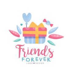 Friends forever logo design colorful template vector