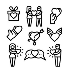 friendship and love icons vector image