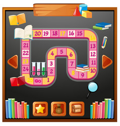 Game template with books and shcool items vector