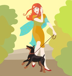 Girl and puppy walking vector