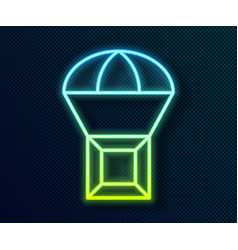 Glowing neon line box flying on parachute icon vector