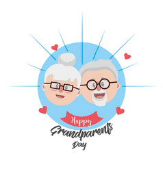 Grandparent face with glasses and hairstyle vector