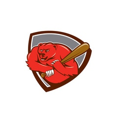 Grizzly Bear Baseball Player Batting Shield vector image
