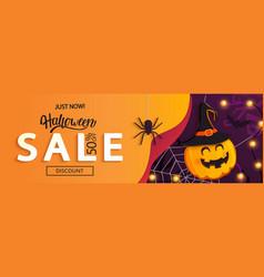 halloween sale horizontal bannercardflyer vector image