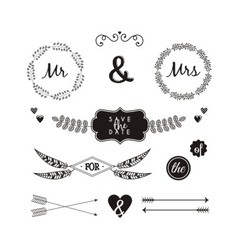 Hand drawn ornaments wedding vector