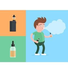 Happy young vaper man holding electronic cigarette vector image