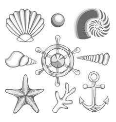 Hatched drawing sea set vector