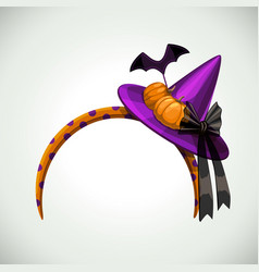 head decor with pumpkins bat and witch hat vector image