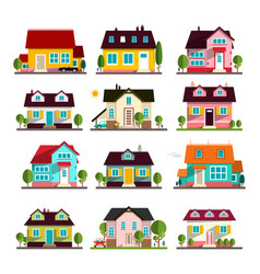 house icons set isolated vector image