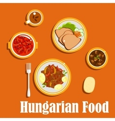 Hungarian lunch dishes and desserts vector image