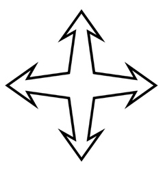 Intersection Arrows Outline Icon vector