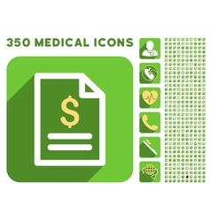 Invoice Page Icon and Medical Longshadow Icon Set vector