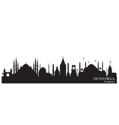 Istanbul turkey city skyline silhouette vector