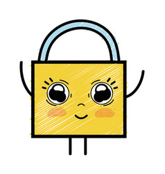 Kawaii cute happy padlock security vector