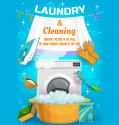 Laundry and cleaning service ad with tools vector