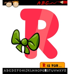 Letter r with ribbon cartoon vector